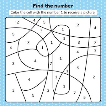 Vector illustratie. kleurboek nummer voor kinderen. werkblad voor kleuterschool, kleuterschool en schoolleeftijd.