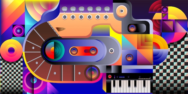 Vector illustratie kleurrijke muziek achtergrond