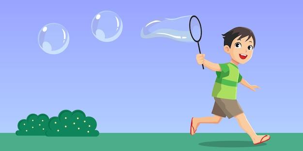 Vector illustratie landschap, kinderen spelen gigantische bubbels