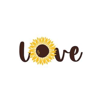 Vector illustratie liefde veranda bord met zonnebloem geïsoleerd op een witte achtergrond