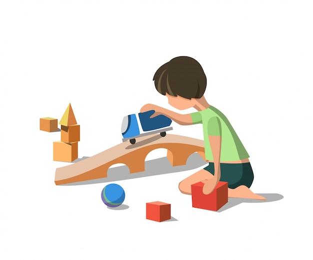 Vector illustratie little boy in green tshirt.