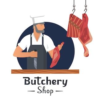Vector illustratie logo voor een slagerij met een bebaarde slagers op het werk.