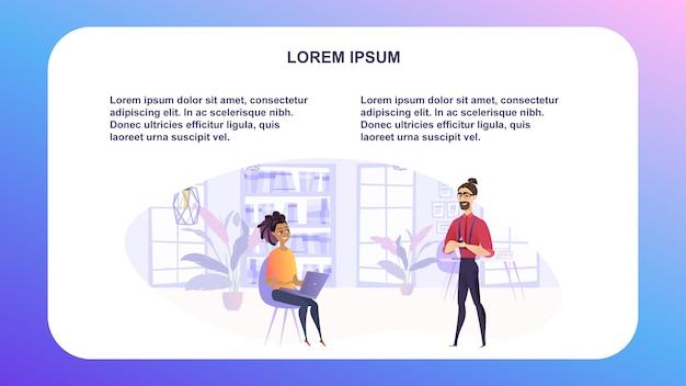 Vector illustratie man en vrouw in werkomgeving