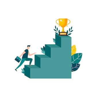 Vector illustratie mensen rennen naar de bestemming bergopwaarts naar hun dromen?