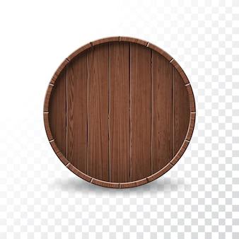 Vector illustratie met geïsoleerde houten vat op transparante achtergrond.