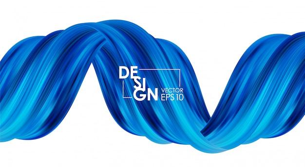 Vector illustratie: moderne abstracte achtergrond met 3d-gedraaide blauwe stroom vloeibare vorm. acrylverf ontwerp.