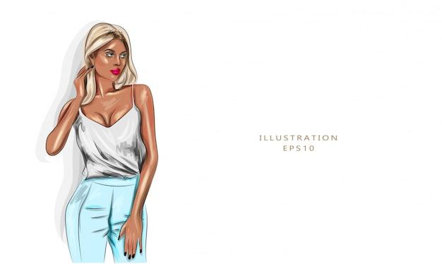 Vector illustratie. modieuze blonde in een top en broek. mooie gebruinde huid. elegante vrouw.