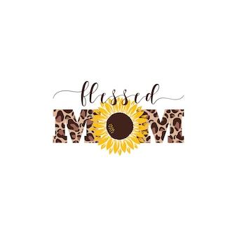 Vector illustratie moeder met zonnebloem geïsoleerd op een witte achtergrond