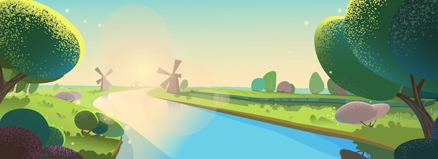 Vector illustratie mooi landschap. zonnige ochtend, zonsopgang op rivier, molens, avond.