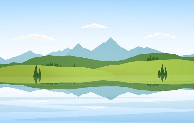 Vector illustratie: mountain lake landschap met pijnbomen en reflectie.