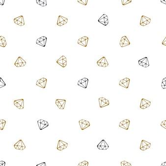 Vector illustratie. naadloos patroon met vallende doodles van diamanten op witte achtergrond