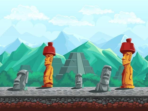 Vector illustratie naadloze achtergrond van stenen beeld, piramide in de smaragdgroene bergen.