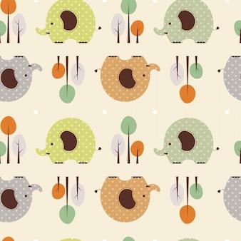 Vector illustratie naadloze patroon met olifant en boom