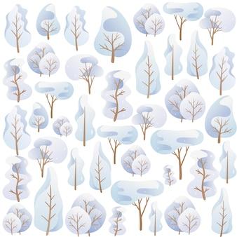 Vector illustratie. naadloze patroon t van doodle beelden. cartoon bomen in een blauw palet, besneeuwde winterkroon van verschillende vormen. achtergrond decoratie