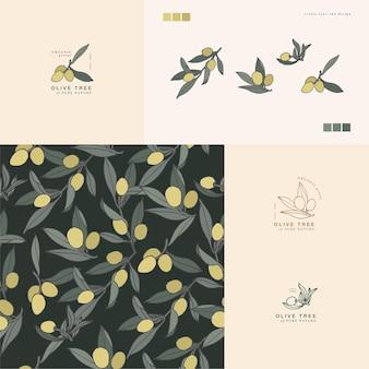 Vector illustratie olijftak vintage gegraveerde stijl logo compositie in retro botanische stijl s...