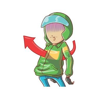 Vector illustratie online taxi fietschauffeur gewond in haard motorfiets rijden ojek hand getekende cartoon kleurstijl