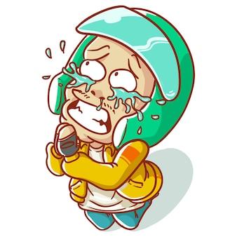 Vector illustratie online taxi fietschauffeur, in motorfiets, ojek rijden, huilen, alsjeblieft, sorry, verdrietig, schuldig voelen