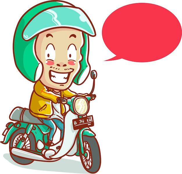 Vector illustratie online taxi fietschauffeur in motorfiets rijden ojek helm hand getekende cartoon kleurstijl
