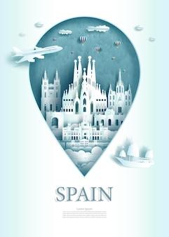 Vector illustratie pin punt symbool reizen bezienswaardigheden spanje architectuur monument pin in europa