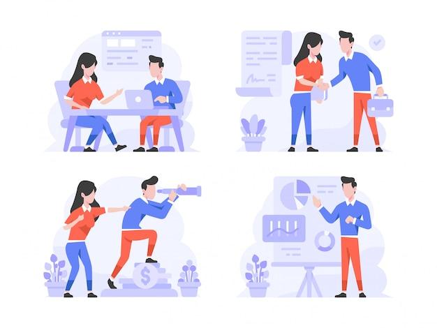 Vector illustratie platte ontwerpstijl, man en vrouw doen bespreking van vergadering, dealovereenkomst, bedrijfsvisie, presentatie zien