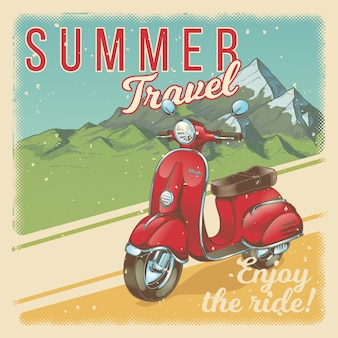 Vector illustratie, poster met rode vintage scooter, brommer in grunge stijl.