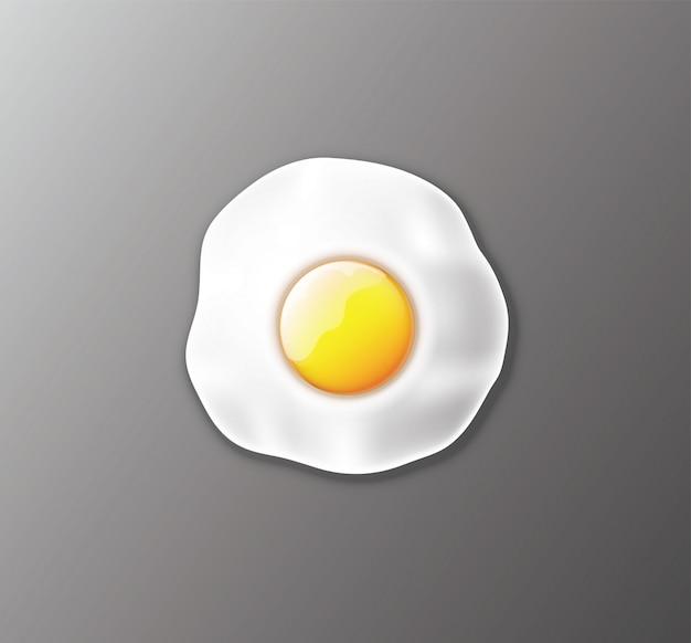 Vector illustratie, realistisch gebakken ei.