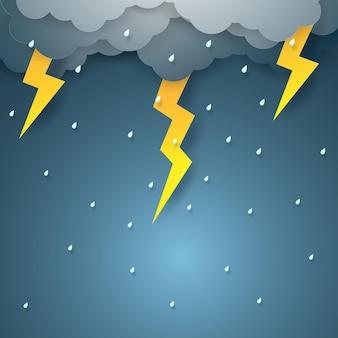 Vector illustratie regen met bliksemschicht, papier kunststijl