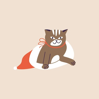 Vector illustratie schattige kerst kat binnen rode vakantie hoed en met rode strik. winter vakantiestemming.