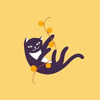 Vector illustratie schattige kerst kat spelen met kerstverlichting slinger. winter vakantiestemming.