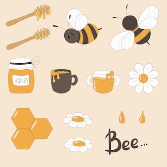 Vector illustratie set foto's van bijen, honing, honinglepel, vat en mok met honing, kamilles.