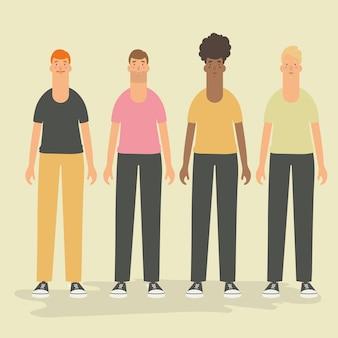 Vector illustratie. set mannelijke avatar-tekens.