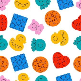 Vector illustratie set trendy zintuiglijke pop het friemelt. regenboog antistress speelgoed met snuisterij. naadloze patroon.
