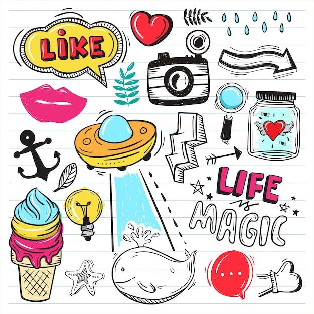 Vector illustratie set van kleurrijke schattige doodle op papier achtergrond