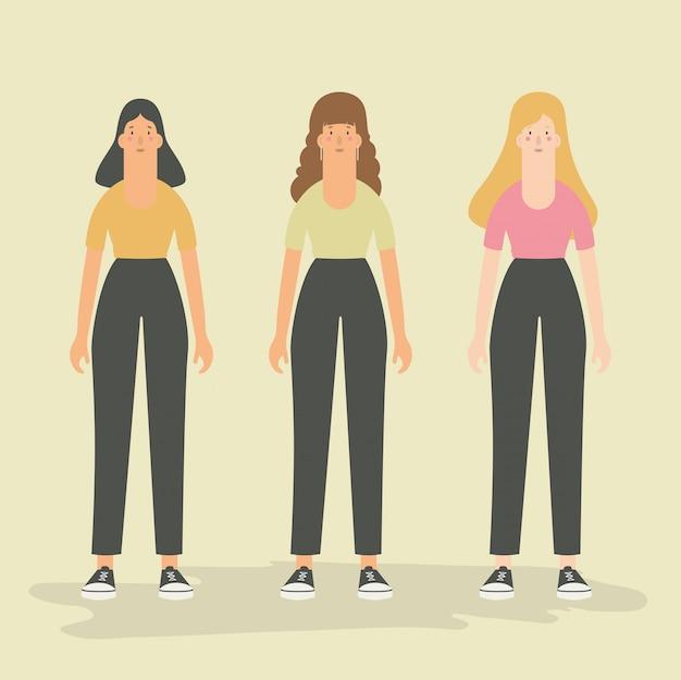 Vector illustratie. set van vrouwelijke avatar-tekens in plat ontwerp.