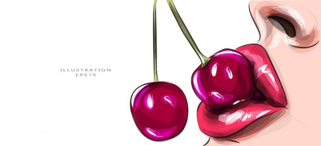 Vector illustratie. sexy rode lippen met kers die op wit wordt geïsoleerd.