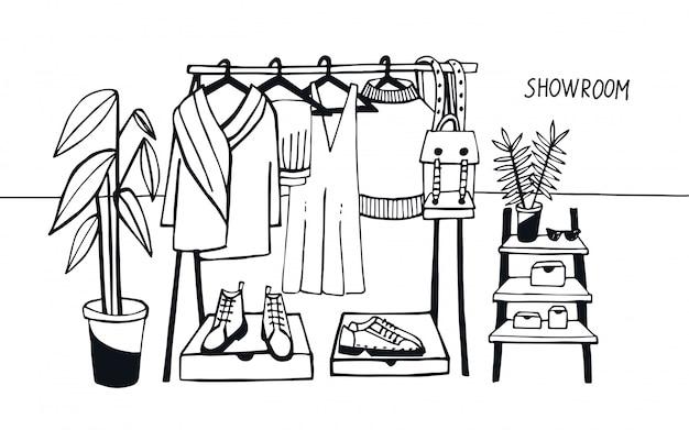 Vector illustratie showroom. kapstok met kleding, tassen, dozen en schoenen, mode, moderne stijl.