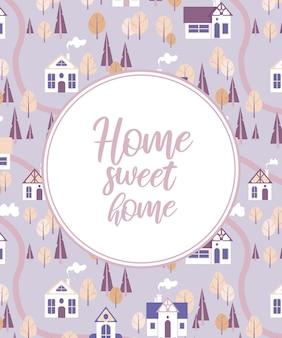 Vector illustratie stad landschap schattige huizen herfst bomen in delicate paarse lavendel pastel kleuren. belettering home sweet home. voor ansichtkaarten, posterdruk op een mok, merch.