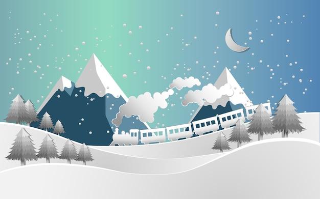 Vector illustratie trein en sneeuw landschap. papieren kunststijl