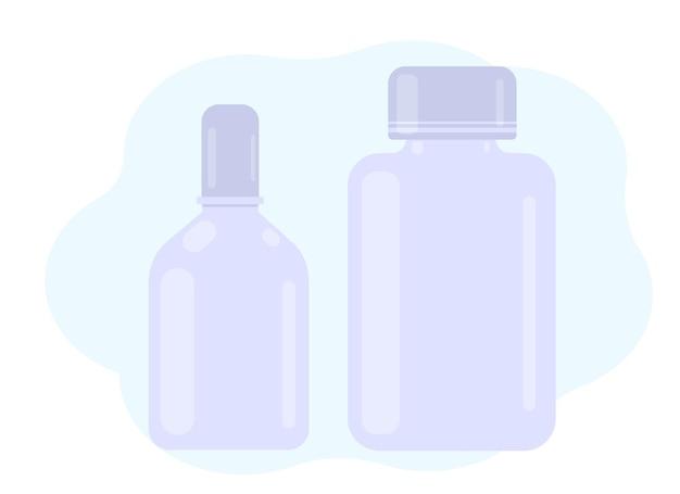Vector illustratie. twee pillenpotjes en een oog- of neusspray. voorbeeldverpakking