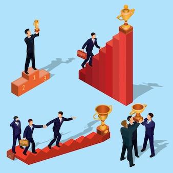 Vector illustratie van 3d vlakke isometrische mensen. concept van bedrijfsgroei, carrière ladder, het pad naar succes.