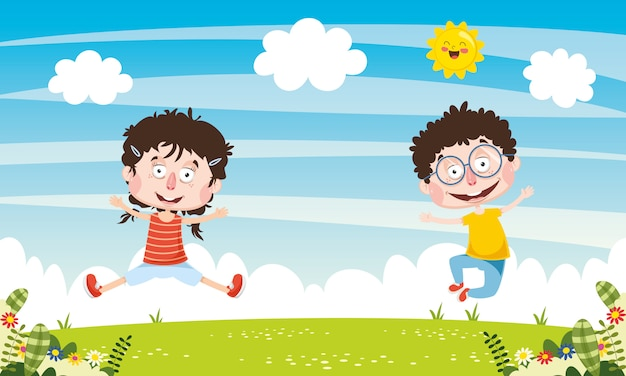 Vector illustratie van abstracte kinderen