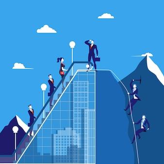 Vector illustratie van bedrijfsmensen die de berg, vlakke stijl beklimmen