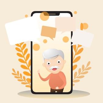 Vector illustratie van bejaarde karakter met slimme telefoon.