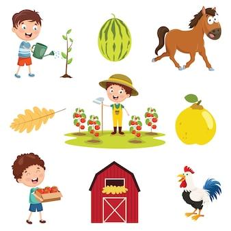 Vector illustratie van boerderij dingen