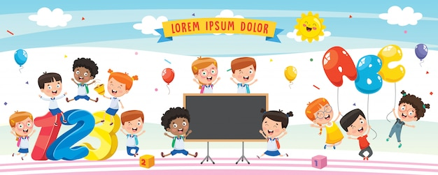 Vector illustratie van cartoon kinderen