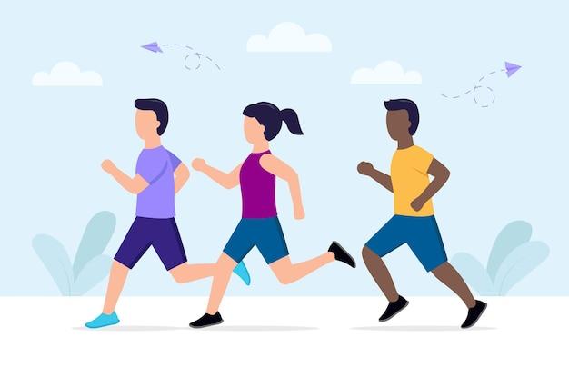 Vector illustratie van cartoon stijl joggen mensen dragen sportkleding. marathonlopers groep mannen en vrouw in beweging lopen.