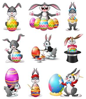 Vector illustratie van cute easter bunnies set