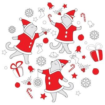 Vector illustratie van de de krabbel de leuke dansende katten van de lijnkunst voor kerstmis