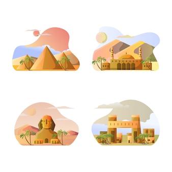 Vector illustratie van de toeristische bestemmingen van het land van egypte