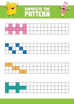 Vector illustratie van de volledige patroon oefening